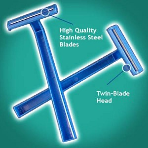 American Safety Razor Val-U-Shave Twin Blade Razor, Twin BladeDisposable, Blue, Box of 50 - Model 75-1032