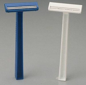 American Safety Razor Val-U-Shave Fixed Head Razor, Single BladeDisposable NonSterile, Blue, Box of 50 - Model 75-1030