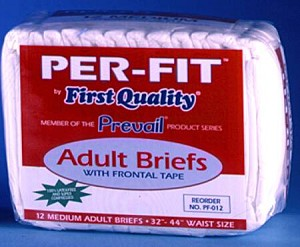 Prevail Brief Limited Mat Body Shaped, 32-44 Inch Medium White Moderate-Heavy Absorbency, Pkg of 96