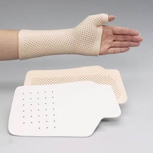 "Rolyan Wrist and Thumb Spica Splint w/ IP Immobilization - Polyflex II 1/8"" (3.2mm) 2% Perforated White Large"